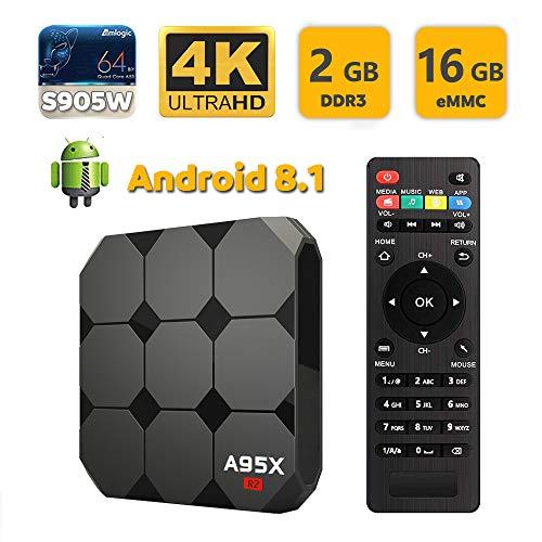 SUNNZO F1 Android 8.1 OS TV Box con Procesador Amlogic S905W Quad Core de 64 bits 2GB RAM+16GB ROM,4K HD,H.265 (2+16GB)