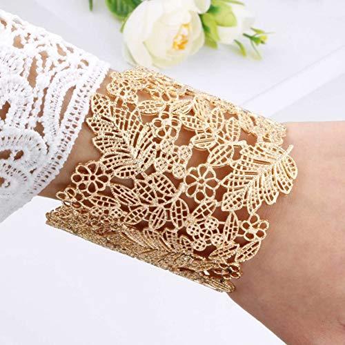 SBKJL Gold Stulpearmbänder Für Frauen Marke Große Hohle Blume Mode Armreifen Indische Mädchen Armbänder & Armreifen Weibliche Nette Damen