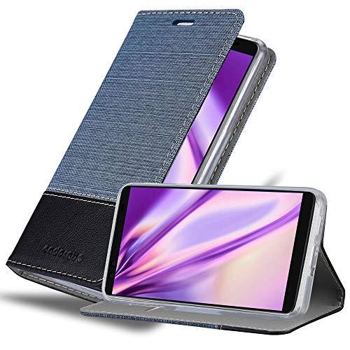 Cadorabo Hülle für HTC U12+ (Plus-Version) in DUNKEL BLAU SCHWARZ - Handyhülle mit Magnetverschluss, Standfunktion & Kartenfach - Hülle Cover Schutzhülle Etui Tasche Book Klapp Style