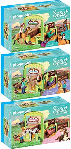 Playmobil® Spirit 3pcs. Set 9478 9479 9480 Lucky & Spirit with Horse Stall + Pru & Chica Linda with Horse Stall + Abigail & Boomerang with Horse Stall