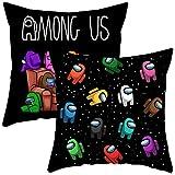 BAIBEI Fundas de Cojín de Videojuegos, 2pcs Game Among Us Throw Pillow de Almohada Decorativas para sofá para cojín Cuadrado de 45 x 45cm, para sofá, sillón, Cama y Coche, Negro