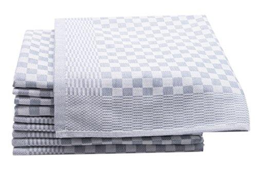ZOLLNER 10er-Set Geschirrtücher, Vollzwirn, 100% Baumwolle, 46x70 cm, grau