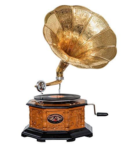 aubaho Grammophon Grammophone Trichter Grammofon für Schellack Platten im antiken Stil