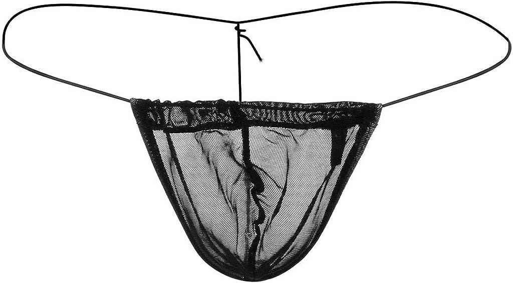 GREFER-Mens Brief Mens Sexy Cooling Mesh Thong Mini Bikinis Underwear Elastic G-Strings & Thongs