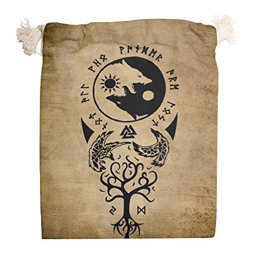 FFanClassic Beutel mit Kordelzug, Motiv: Wikinger, Tattoo, Rabe, Yin, Yang, Wolf, bequem, multifunktional, weiß, 12 x 18 cm