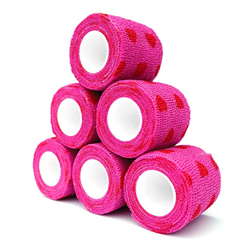 "Cohesive Bandage 2"" x 5 Yards, 6 Rolls, Self Adherent Wrap Medical Tape, Adhesive Flexible Breathable First Aid Gauze Ideal for Stretch Athletic, Ankle Sprains & Swelling, Sports(Rose Red Heart)"