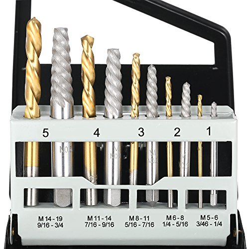 KKmoon 10.tlg Cobalt Linke Hand Bohrer/ Gebrochene Bolt Beschädigte Schraube Extractor Set, Verschiedene Größen mit Metallgehäuse
