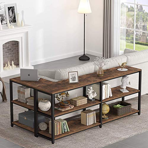 70.9 inches Extra Long Sofa Table, Industrial Behind Couch Table with Storage, Rustic Console Table for Living Room & Entryway, Hallway(Brown)