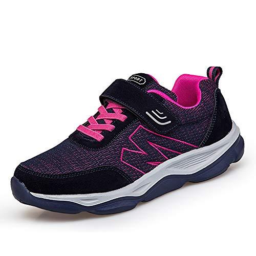 [ZUBOK] スニーカー メンズ レディース 介護シューズ 高齢者シューズ 安全靴 マジックテープ 外反母趾 通気性 柔軟性 メッシュ 中高齢者靴 (25cm ディープブルーローズ)