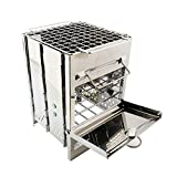 ZR&YW Outdoor Portable Stainless Steel Camping Wood Stove Kit, Folding Titanium Wood Stove, Cooking Picnic Travel <span class='highlight'>BBQ</span> Mini Stove