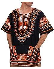 Berimaterry Moda de Verano para Hombre Camiseta con Estampado Vintage de Estilo étnico Africano Cuello Redondo con Estampado Bordado Manga Corta de Grafiti Dorado Estilo étnico de Africano