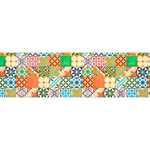 IlGruppone Tappeto passatoia Made in Italy Antiscivolo Lavabile Fantasia Maiolica Arancio - Maiolica Arancio - 50x300 cm