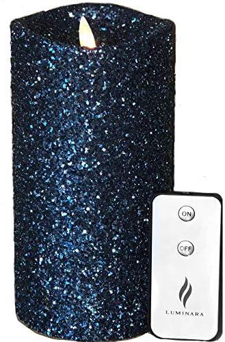 Luminara Vintage Glitter 5 Flameless Pillar Candles w Remote Blue product image