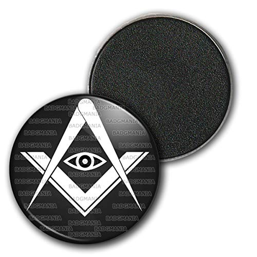 Badgmania Magnet Aimant Frigo 3.8cm Compas Equerre Francs-Maçons Symbole Maçonnique Blanc Fond Noir