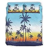 Zhouwonder Hawaii coco árbol Hipoalergénico cama Set lujo ropa de cama hipoalergénico conjunto para el hogar Hawaii blanco 203x230cm