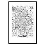 murando Poster Stadt Frankfurt 40x60 cm mit Rahmen Bilder
