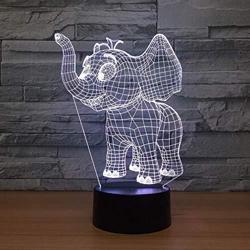 Película de luz de noche de luz 3D bebé elefante acrílico luz LED 3D luz de noche LED colorida enchufe USB regalo creativo