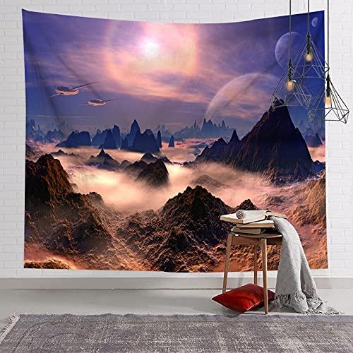 KHKJ Personalidad nórdica Cielo Estrellado Luna Tierra Tapiz Dormitorio Renovación de la Pared Revestimiento de Paredes Decorativo Tapiz de Pared de Fondo A10 95x73cm
