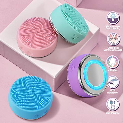 electrico recargable Cepillo limpiador facial IPx7 impermeable 4 modo de trabajo calefacción...