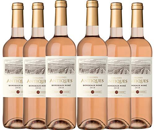 Collines Antiques - Vino rosado denominación de origen controlada Burdeos, añada 2018, (6 botellas de 750 ml)