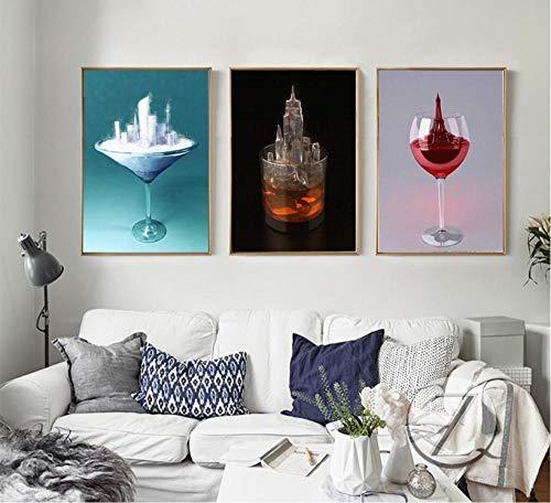 Non-branded Nordische kreative Glasarchitektur Dekoration Malerei Wandkunst Druckbild Wohnzimmer Leinwand Malerei 40X60cmX3 (Rahmenlos)