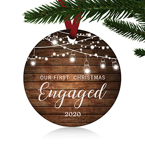 ZUNON Our First Christmas Engaged Ornaments 2020 Our First Christmas Married Wedding Decoration 3' Ornament (Engaged Ornament 1)