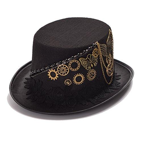 GRACEART Sombrero de estilo steampunk, color marrón con gafas para Halloween, fiesta de disfraces Negro L