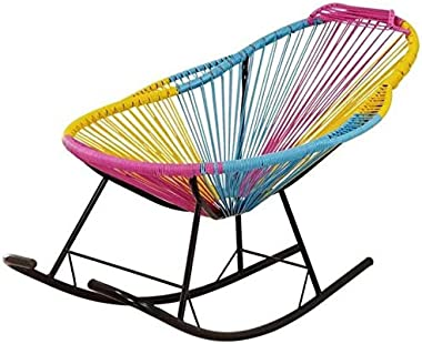 WANGLX Porch Chairs Porch Furniture, Modern Outdoor Garden Rocking Chair Rattan Rocking Chair String Rocking Chair for Outdoo