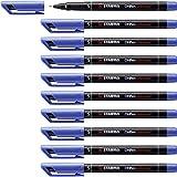 Marcatore - STABILO OHPen universal Permanente - Tratto Superfine (0,4 mm) - Confezione da 10 - Blu