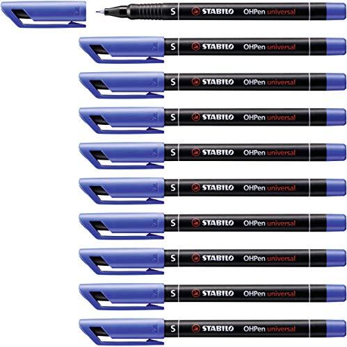 STABILO Lot de 10 Feutres pour Transaprent OHPen encre soluble Pte m/édium bleu
