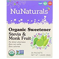NuNaturals オーガニック甘味料 ステビアとモンクフルーツ 35袋 1 24 oz 35 g