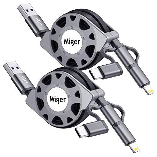 2-Pack Miger Retractable Multi 3.0A Fast Charging Cable, 3.3ft/1m 3 in 1 Lightning/Type C/Micro USB Charger Cord for iPhone, iPad, Huawei, Pixel, LG, Samsung Galaxy, Xperia, Android Smartphones