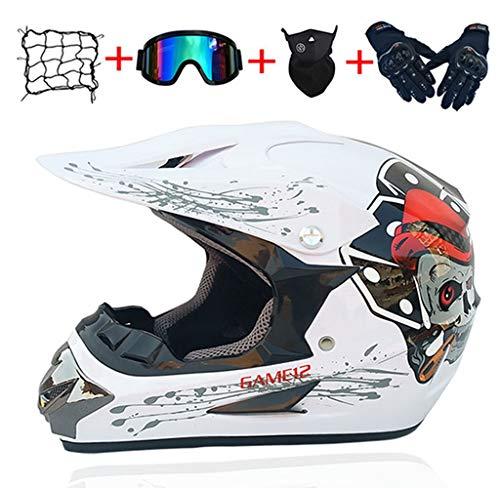 Casque de motocross intégral pour adulte, noir, avec lunettes, gants (5 pièces) - Casque de moto pour enfants - Pour VTT, descente, dirt bike, MX quad, ATV (L)