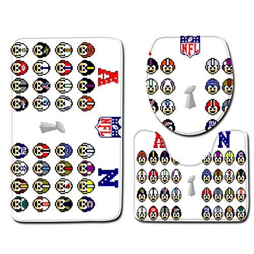 DREAMING-Fußball-Themenorientiertes Bodenmatten-Set Wc-Badezimmermatten-Teppich 3-Teiliges Flanell-Badmatten-Set Badezimmermatte + Basismatte + Toilettensitzkissen 50cm * 80cm