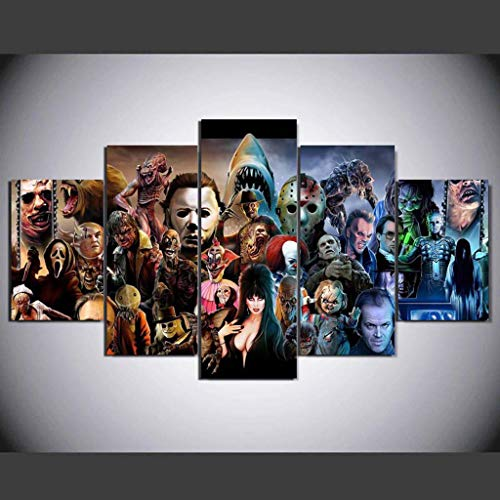 Qucasyl Beautiful 5 Pieces Wall Art Home Art Decoration Printing Printing Canvas Oil Painting Dark Horror Movie Series(No Framed),20x30cm2+20x40cm2+20x50cm1