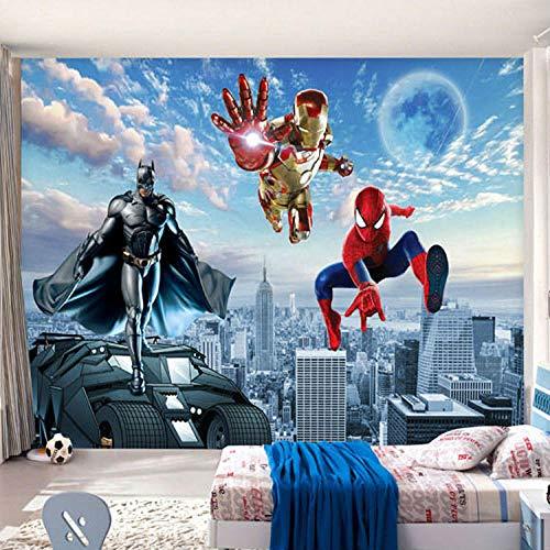 XCHBH behang zelfklevend behang wandschilderijen 3D fotobehang vleermuis staalbehang spin wandschilderij jongen slaapkamer woonkamer TV jongen slaapkamer kinderen interieur kunst 350x256 cm (BxH) 7 Streifen - selbstklebend