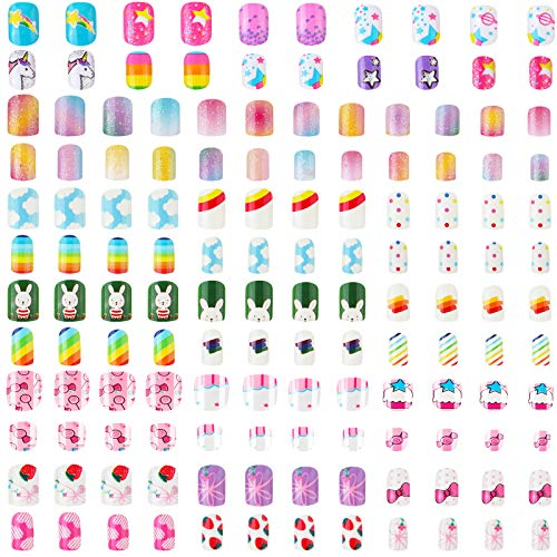 140 Uñas Postizas de Niños Uñas Postizas de Dibujos de Niñas Uñas de Cubierta Completa con Pgamento de Colores Kit de Puntas de Uñas Artificiales Acrílicas Cortas Lindas (Estilos Mixtos)