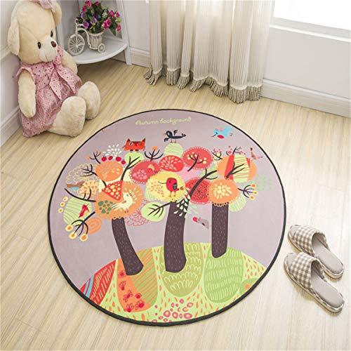 Morbuy Rotonda Tappeto Salotto Cucina Bagno Bambini Camera da Letto Yoga, Moderno Carton Stampa Soggiorno Antiscivolo Tappeti Decorazione della Casa (60x60cm,Impressionismo)