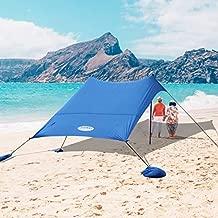 UMARDOO Family Beach Shade with 2 Aluminum Poles, Pop Up Beach Tent with Carrying Bag (Blue, 7X7 FT)
