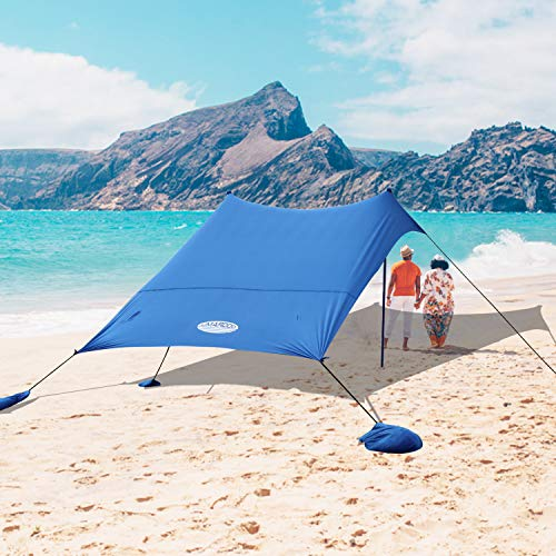 UMARDOO Family Beach Shade with 2 Aluminum Poles, Pop Up Beach Tent with Carrying Bag