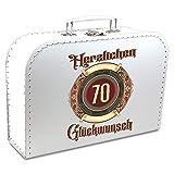 KMC Austria Design Geburtstagskoffer - Koffer für den 70. Geburtstag verziehrt mit ansprechendem Ornament - Pappkoffer weiß 30cm - als Geschenk oder für Geschenke
