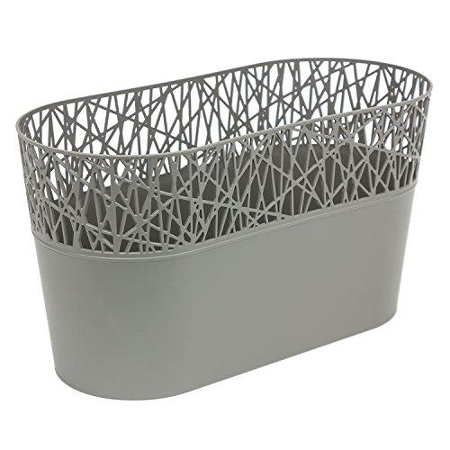 Ovale cache-pot CITY 28.5 cm en plastique romantique style, en gris