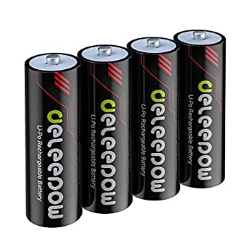 Deleepow AA Rechargeable Batteries Lithium 3400mWh 1.5V Double AA Rechargeable Batteries High Capacity 1500 Cycles 4-Pack
