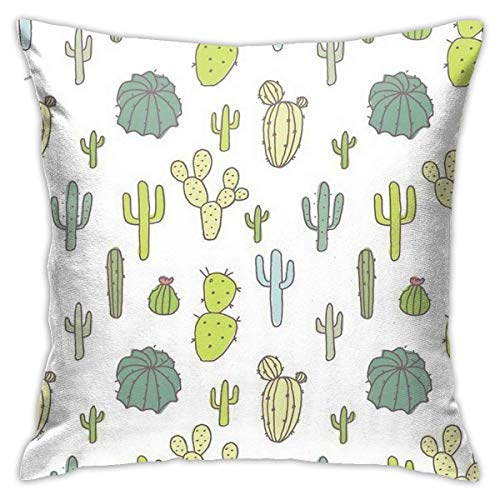 N/Q 45X45cm Throw Pillowcase,Beautiful Cactus Print Square Outdoor Pillowcase Sofa Cover Decorative Cushion Cover, Soft, Used for Car Bed Living Room