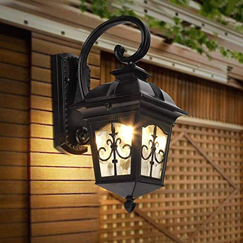 Home Accessories Creative Outdoor Wall Lantern Exterior Wall Sconces Waterproof Light Fixture Industrial Glass Shade Lantern Cast Aluminum Black Wall Mounted for Luminaire Balcony Patio Porch E27