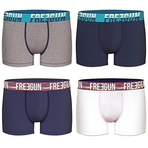 FREEGUN Lot de 4 Boxers Homme Coton Uni (M, Blanc/Bleu/Gris)