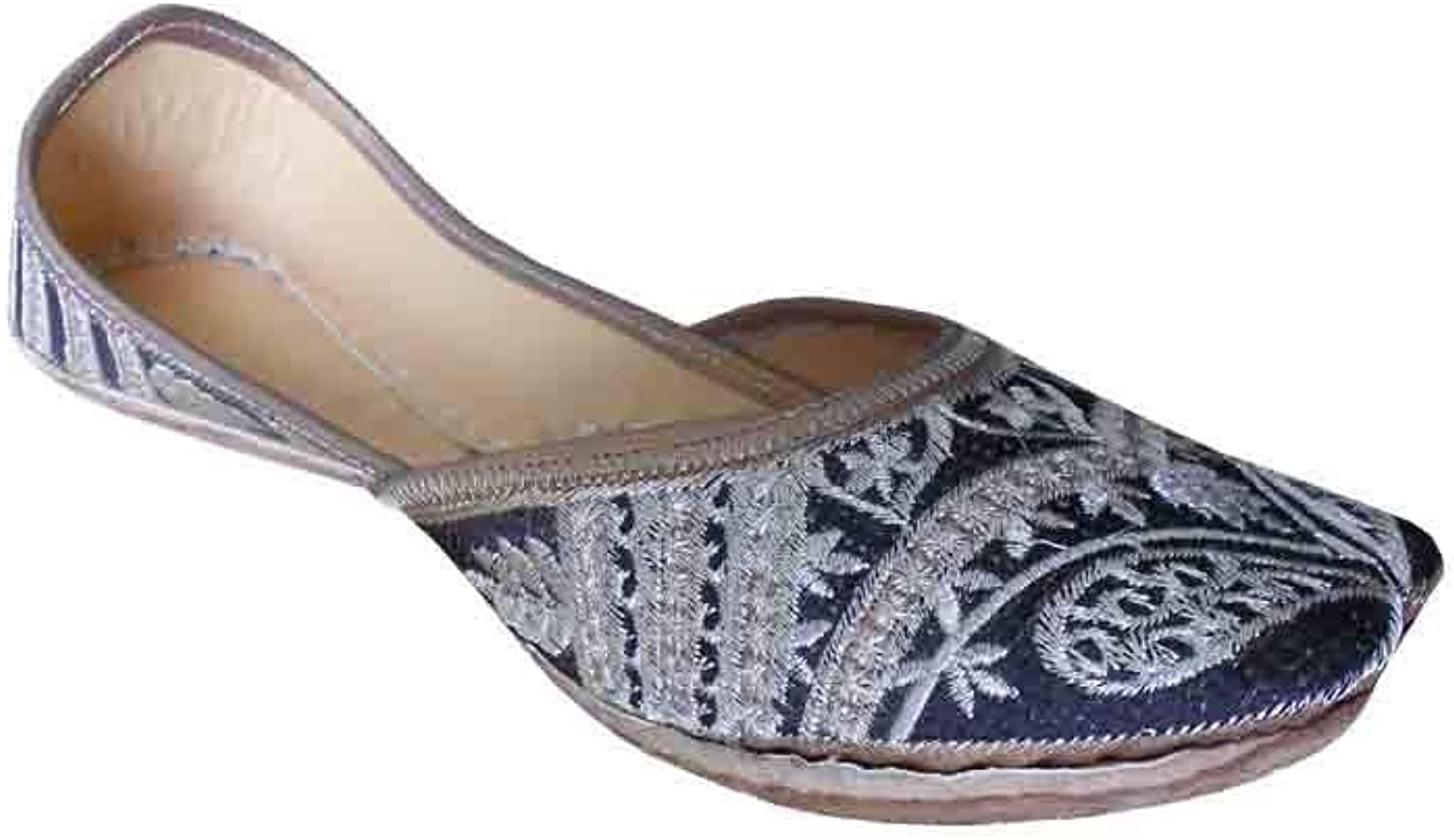 Kalra Creations Mojari Leather Punjabi Flip-Flops Indian Handmade Women shoes Flat