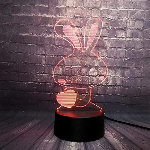 BFMBCHDJ Nettes Kaninchen 3D führte Nachtlicht-Kind-Dekorations-Mädchen-Schlafzimmer-Illusions-Schlaf-Licht 7 Farbänderungs-Geschenk-Spielzeug A1 schwarze Unterseite