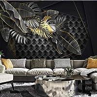 Iusasdz カスタム大壁紙壁画3Dミニマルな黄金の熱帯植物の葉幾何学的な3次元の背景Wallpape 120X100Cm