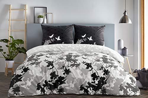 etérea Baumwolle Bettwäsche - Osaka Schmetterlinge - weich und pflegeleicht, 4 teilig 2Stk 135x200 cm + 2Stk 80x80 cm, Grau